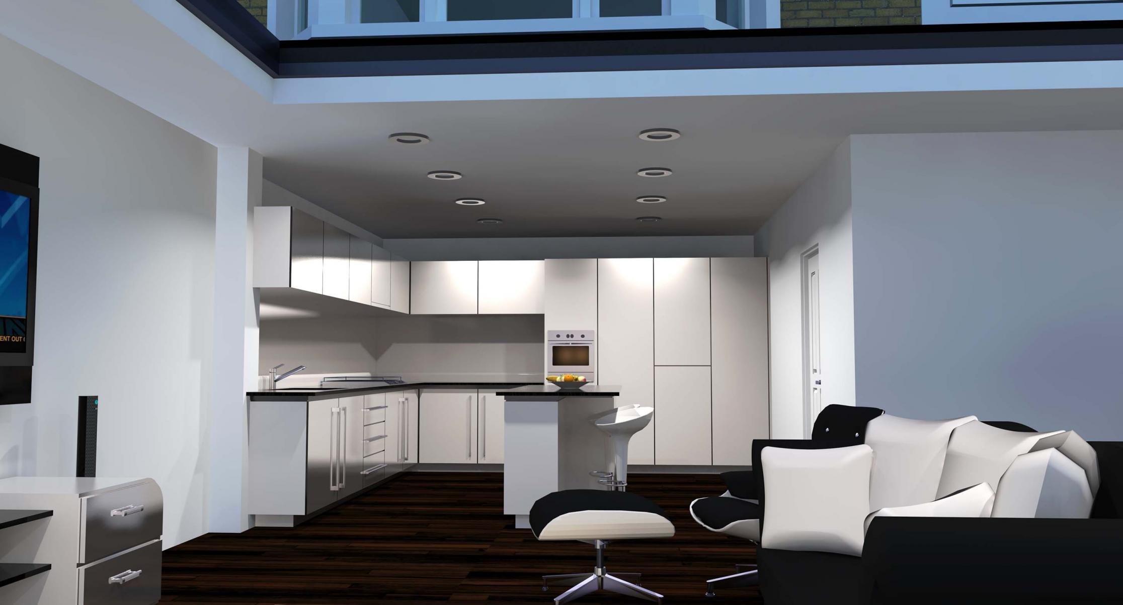 Rear ext garage door residential 3d models by the art for Rear garage door