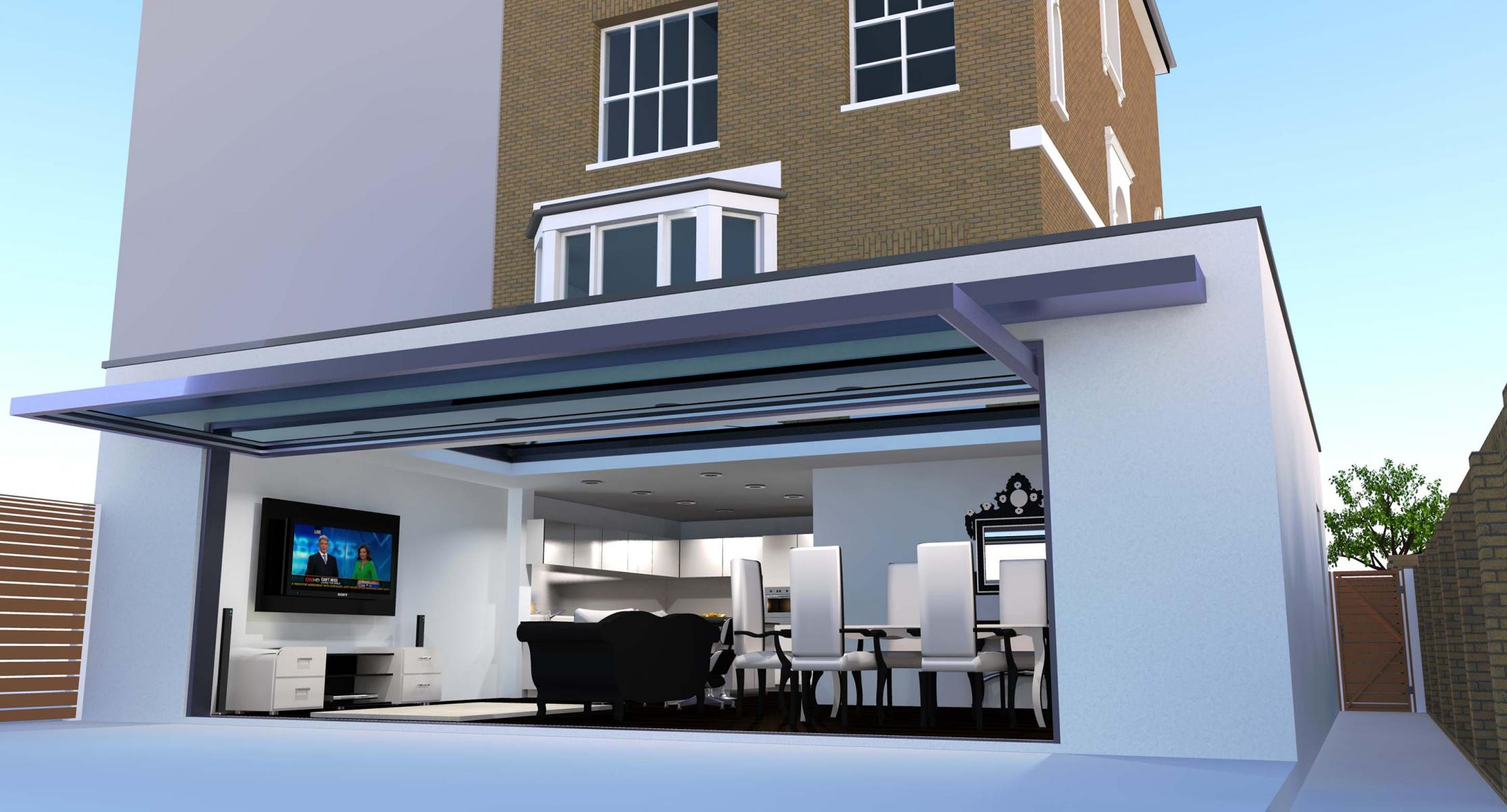 Rear ext garage door residential 3d models by the art for Garage extension cost estimate